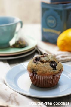 Lemon-Blueberry Muffins by Gluten-Free Goddess. Karina's Gluten-Free Lemon Blueberry Muffin Recipe for bright, lemony muffins with a touch of flaxseed meal for added fiber and virtuous all-around goodness.