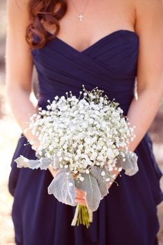 Baby's Breath as the Bridesmaid's bouquet. contrast with the plum looks great, then have bride bouquet be plum colored flowers to contrast with the dress! Wedding Wishes, Our Wedding, Dream Wedding, Wedding Beach, Beach Weddings, Beige Wedding, Decor Wedding, Trendy Wedding, Summer Wedding