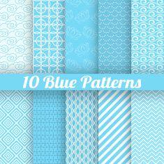Blue different seamless patterns vector art illustration