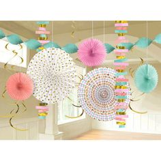 Create a stunning party display with this Pastel & Gold Decorating Kit. First, hang the paper fan decorations from the ceiling. Then, add the dangling foil swirls and string garlands for a touch o. Pastel Room, Pastel Decor, Pastel Colors, Paper Fan Decorations, Pastel Party, Paper Fans, Ppr, Party Stores, Swirls