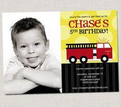 Fire Truck Birthday Invitation by announcingyou on Etsy. $15.00 USD, via Etsy.