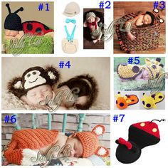 New Baby Infant Crochet Aminal Beanie Hat Toddler Photography Props Costume Set Handmade Baby Outfits 5sets