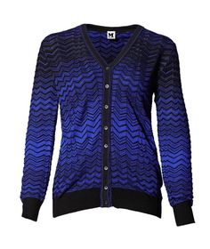 M Missoni | Long Sleeve Cardigan in Zig Zag blue and black