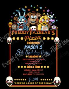 Five Nights At Freddys Birthday Invitations By EventfulThinkingCA 8th 13th Parties