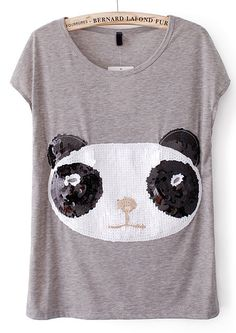 Grey Short Sleeve Panda Print Sequined T-Shirt - Sheinside.com