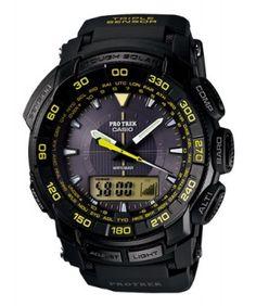 Relógio Casio Men's PRG-550-1A9 Pro Trek Tough Solar Black Dial Watch #Relogio #casio