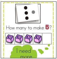 KindergartenWorks: making 5 fluency ideas and games Kindergarten Math Activities, Preschool Math, Math Classroom, Fun Math, Teaching Math, Subitizing Activities, Classroom Resources, Math Games, Teaching Ideas