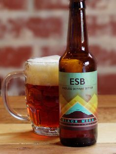 Black Mesa Endless Skyway Bitter (ESB) Light and mild. Biscuity malt body with a hint of candy sugar in the finish. Favorite Son, Beer 101, Beers Of The World, All Brands, Craft Beer, Brewing, English Style, Canning, Mugs