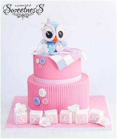 Girly Owl Baby girl baby shower cake.