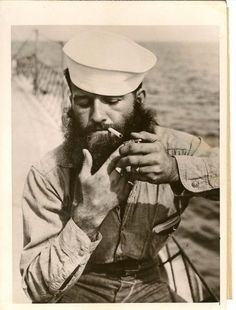 Shipwright Jaspar - Served Pictured here early in his career, enjoying a smoke aboard the HMS George, Shipwright Jaspar was one of the team of support staff employed by the Royal Navy to maintain the fleet. He died of feline emphysema in Marin Vintage, Vintage Men, Moustaches, Old Photos, Vintage Photos, Vintage Sailor, Sea Captain, Beard No Mustache, Gay Beard