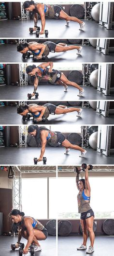 Shoulder press, squat, push up, row, bicep curl or dead lift to standing, repeat 10x