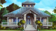 Florida Cracker Style - 24046BG | 1st Floor Master Suite, Beach, CAD Available, Den-Office-Library-Study, Florida, PDF, Southern, Split Bedrooms, Vacation, Wrap Around Porch | Architectural Designs