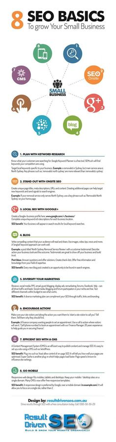 [INFOGRAPHIC] 8 SEO Basics To Grow a Small Business: Keywords; Onsite; Google+; Blog; Diversify; C-T-A; CMS; Mobile; Details>