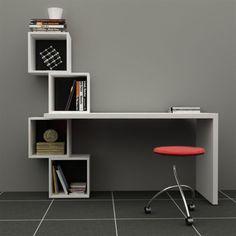 Decortie Balanced Desk/Bookcase, Black Backpad | ACHICA