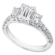 Three Stone Emerald Cut Diamond Cathedral Engagement Ring Pave Band - ES1203EC