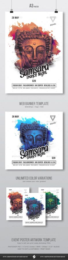 #Samsara Trance #Party #Flyer / Poster Template A3 - Clubs & Parties Events
