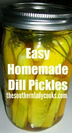 This is a recipe for easy homemade dill pickles I used 30 years ago when my children were little on the farm. They still fight over these pickles. Canning Tips, Canning Recipes, Canning Dill Pickles, How To Make Pickles, Best Pickles, Mint Recipes, Gourmet Recipes, Easy Recipes, Refrigerator Pickles