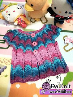 Ravelry: Little Wave Pinafore/Cardigan pattern by Er Eroglu Knitting For Kids, Baby Knitting Patterns, Crochet For Kids, Baby Patterns, Free Knitting, Crochet Baby, Knit Crochet, Crochet Patterns, Cardigan Pattern