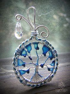 Rainy Day Tree of Life Wire Wrapped Pendant di RachaelsWireGarden, $50.00