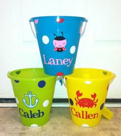 This bucket is great to use at the beach, as an Easter basket or Halloween bucket. You can use it all year long! Personalize yours with a name,