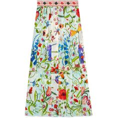 Gucci Unskilled Worker Silk Skirt ($1,575) ❤ liked on Polyvore featuring skirts, ready-to-wear, women, embroidered skirt, flower print skirt, floral print skirt, green silk skirt and floral pleated skirt