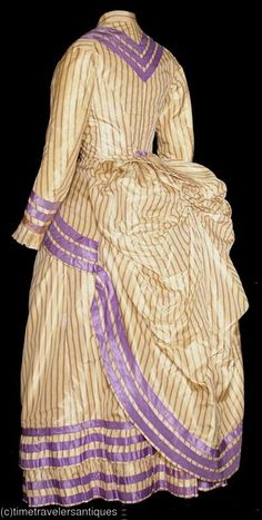 Lavender Seaside Bustle Gown (back view). 1882