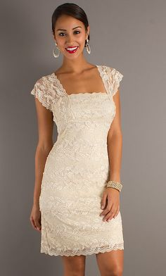 short classic lace wedding dresses | Short Lace Dress with Cap Sleeves , simple blue dress