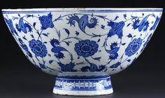 Fritware blue & white bowl, Iznik, Turkey, c.1530. Ceramics galleries at the Victoria & Albert Museum, London.