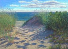 Plein air painting Cape Cod Path to the Beach, original painting by artist Nancy Poucher | DailyPainters.com