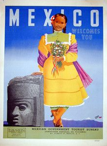 MEXICO Welcomes You vintage travel poster 1953