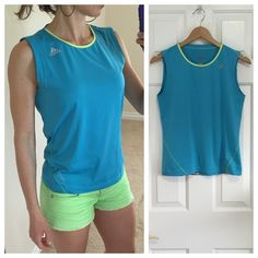 Adidas clima365 blue tank Blue Adidas mesh tank with climacool breathable technology. Lime yellow-green trim. Straight fit. Perfect workout tank, but I'd wear this out on a hot summer day! Size is medium, also works for a small.  Like new condition. Adidas Tops Tank Tops
