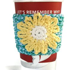 Coffee Cozy Sleeve with Yellow Flower by pigswife on Etsy, $9.00