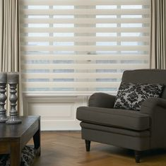 Zebra blinds are a great way to add visual interest to windows and keep prying eyes at bay Sheer Shades, Shades Blinds, Persiana Double Vision, Zebra Shades, Zebra Blinds, Cheap Blinds, Horizontal Blinds, Apartment Makeover, Home Theater Rooms