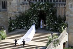 Meghan Markle walking up the steps of St. George's Chapel in her Givenchy wedding dress #RoyalWedding