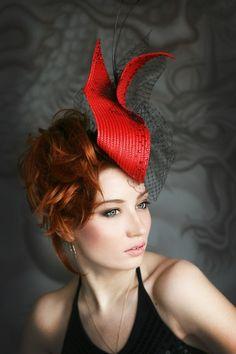 Elegant red hat | Evening hats by Anna Mikhaylova, via Behance