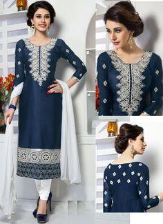 Incredible Neavy Blue Cotton Party Wear Straight Suit - Luxefashion Internet Inc