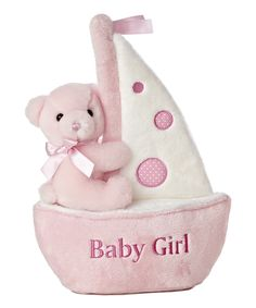 Take a look at this Pink 'Baby Girl' Boat Musical Plush Toy on zulily today!