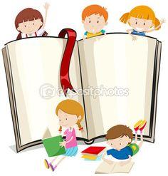 Kitap tasarımı ile çocuk kitap okuma — Stok Vektör © blueringmedia #97945150