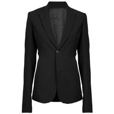 RICK OWENS Tailored Black Jacket ($1,180) ❤ liked on Polyvore featuring outerwear, jackets, blazers, coats, tops, rick owens blazer, rick owens jacket, tailored blazer, long sleeve blazer and black jacket