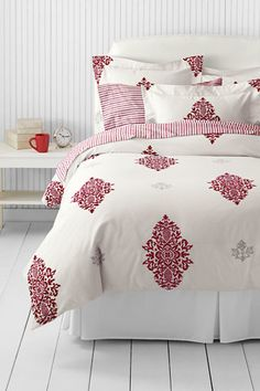 5-oz Pine Cone Damask Duvet Cover from Lands' End.