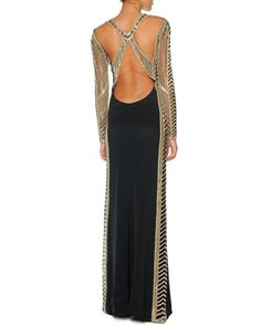Beaded Long-Sleeve Column Gown with Open Back