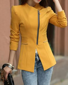 I WANT!!!! Mustard Lapel Collar Zipper Women's Blazer