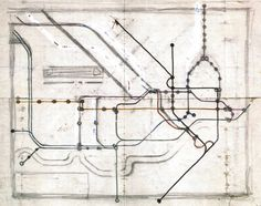 1931 Book, London Underground Maps, Sketch for the first diagrammatic tube map, Harry Beck