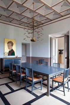 Dining room designed by Pierre Yovanovitch.