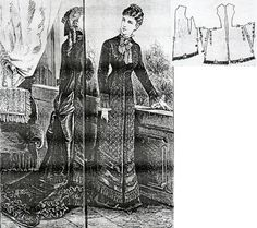 Budapesti Bazár 1877.: Formal gown in princess line from black heavy silk with rich beading and fringe adorments.