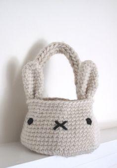bunny rabbit basket bag  crochet pattern  PDF by cherylcambras