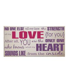 Take a look at this Cream & Purple 'Strength of My Love' Wall Art by Vinyl Crafts on #zulily today!