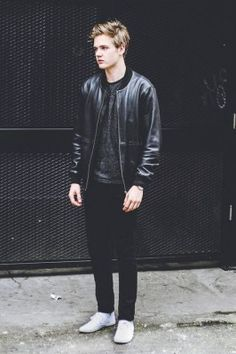 Black leather jacket - black jeans - white shoes