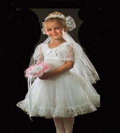 WEDDING BRIDE Flower Girl Bridesmaid CHRISTMAS Dance Costume Child Small #Cicci