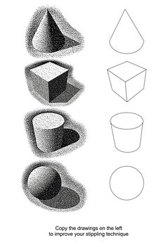 Stippling Worksheet- Lesson 7/10 Pen and Ink by artfactory.com